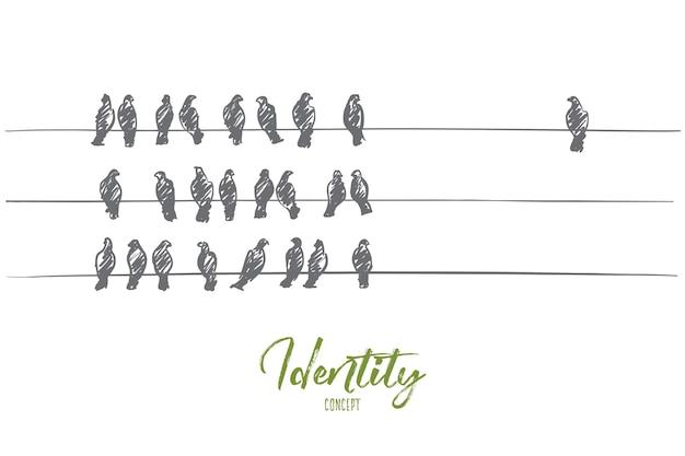Handgetekende identiteitsconcept schets met drie lijnen