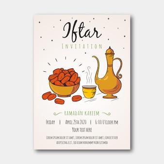 Handgetekende iftar uitnodigingssjabloon