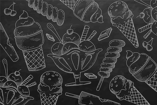 Handgetekende ijs schoolbord achtergrond graveren