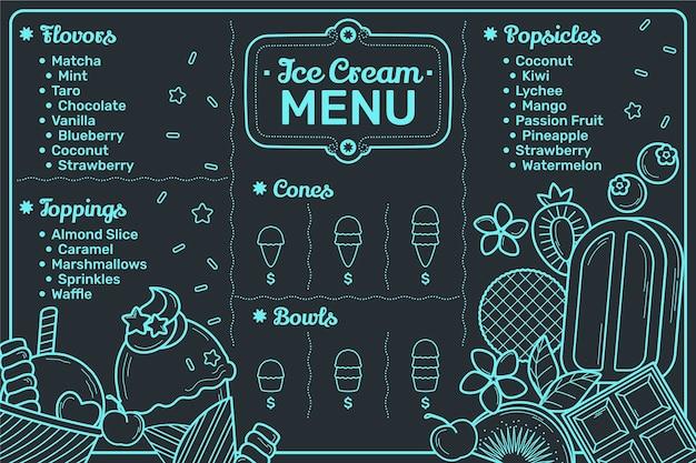 Handgetekende ijs schoolbord menusjabloon