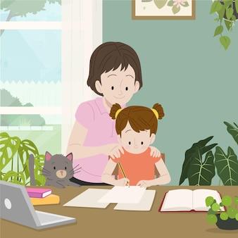 Handgetekende illustratie familiescènes