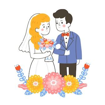 Handgetekende illustratie met bruidspaar