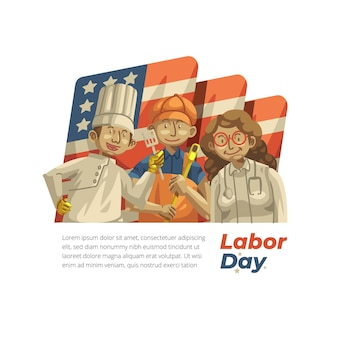 Handgetekende illustratie van de dag van de arbeid