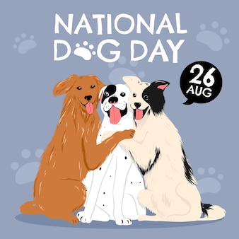 Handgetekende illustratie van de nationale hondendag