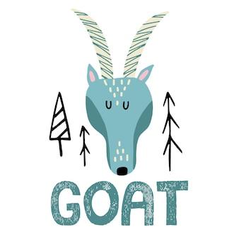 Handgetekende illustratie van een geit voor kinderen schattige geit met hoorns