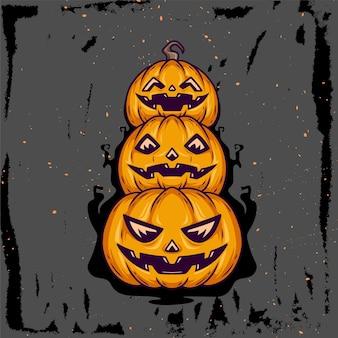 Handgetekende illustratie van gestapelde pompoenen voor helloween
