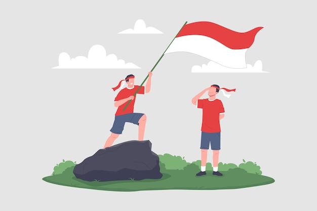 Handgetekende illustratie van het vieren van de onafhankelijkheidsdag van indonesië