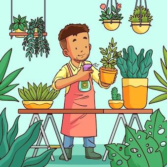 Handgetekende illustratie van mensen die voor planten zorgen