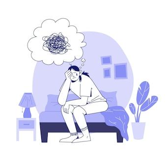 Handgetekende illustratie van persoon met psychische problemen