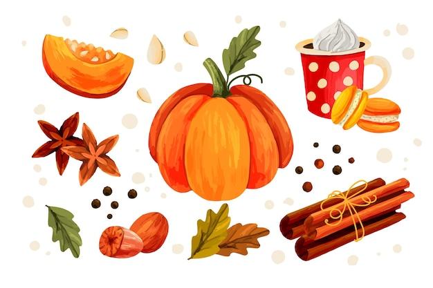 Handgetekende illustratie van pompoenkruid