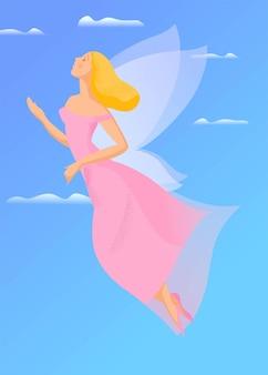 Handgetekende illustratie, vliegend meisje met vleugels