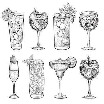 Handgetekende illustraties van alcoholische cocktails
