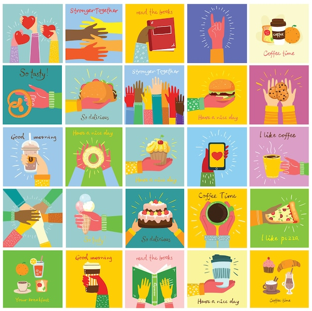 Handgetekende illustraties van handen houden verschillende dingen vast, zoals smartphone, pizza, ijs, donut en andere in de vlakke stijl