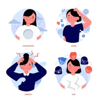Handgetekende illustraties van mensen met psychische problemen