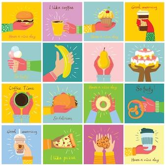 Handgetekende illustraties van taarten en gebakken desserts, koffie en andere in de vlakke stijl