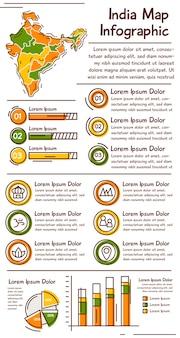 Handgetekende india kaart infographic sjabloon