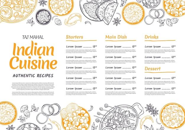 Handgetekende indiase menusjabloon