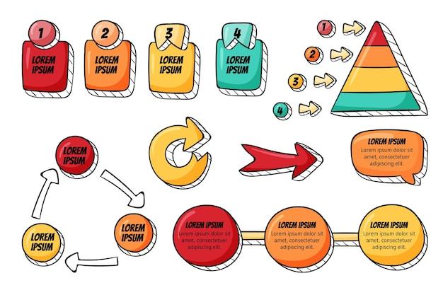 Handgetekende infographic elementencollectie