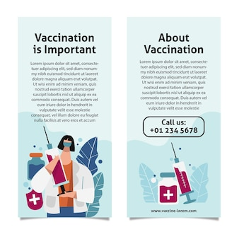 Handgetekende informatieve brochure over vaccinatie tegen coronavirus