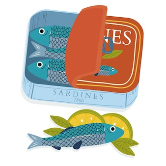 Handgetekende ingeblikte sardineillustratie