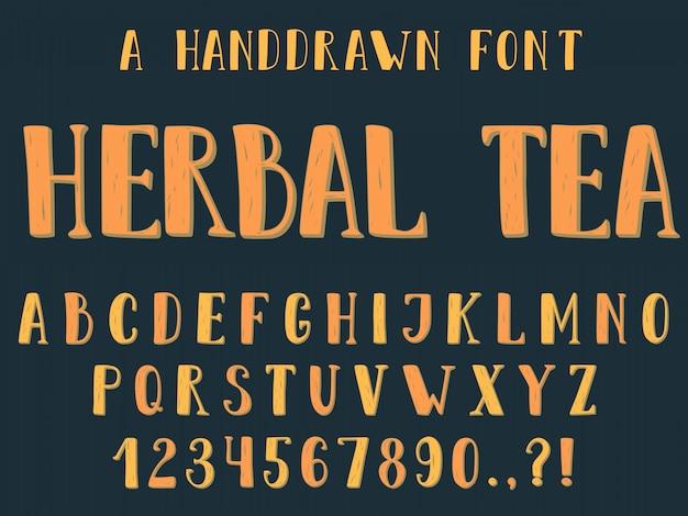 Handgetekende inktloos schreefloos alfabet. hoofdletters en dunne letters met een tweede kleurtint