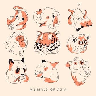 Handgetekende inktstijl aziatische dieren set