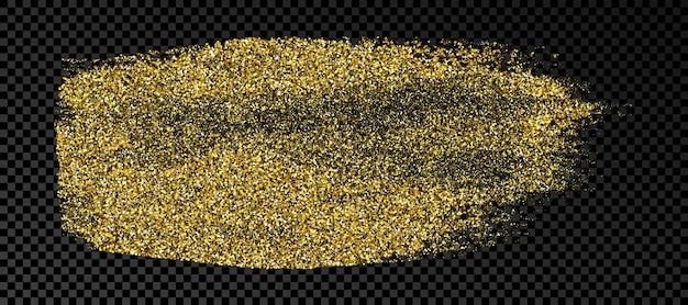Handgetekende inktvlek in gouden glitter. gouden inktvlek met sparkles geïsoleerd op donkere transparante achtergrond. vector illustratie