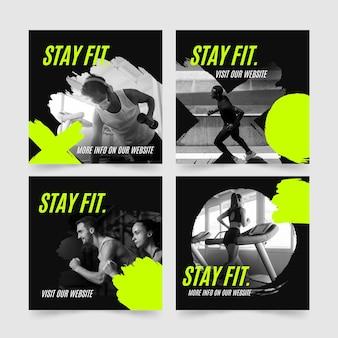 Handgetekende instagram-postverzameling voor gezondheid en fitness