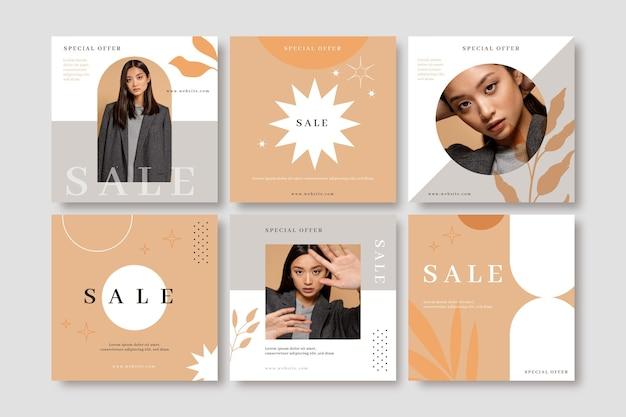 Handgetekende instagram-verkoopberichtencollectie met foto