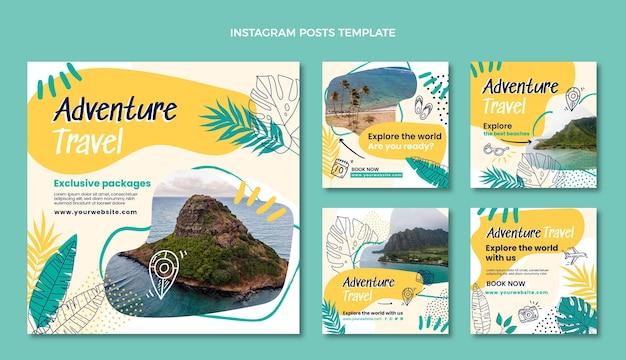 Handgetekende instagramposts voor avontuurlijke reizen