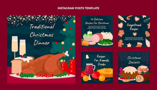 Handgetekende instagramposts voor kerstvoedsel