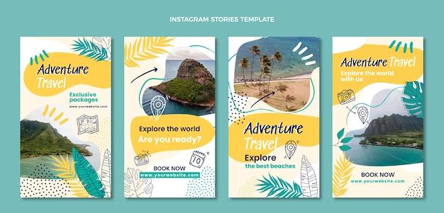 Handgetekende instagramverhalen over avontuurlijke reizen