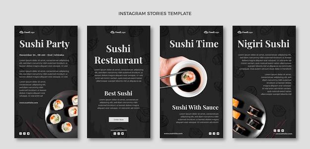 Handgetekende instagramverhalen over eten