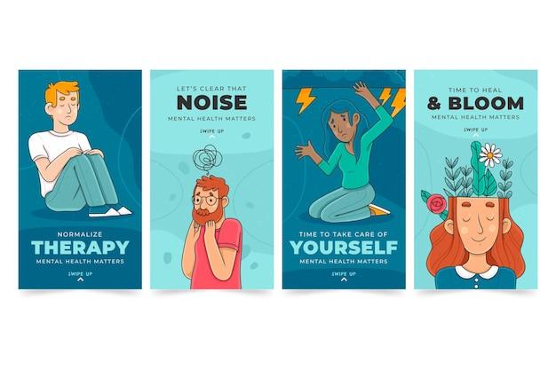 Handgetekende instagramverhalen over geestelijke gezondheid