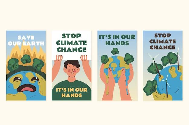 Handgetekende instagramverhalen over klimaatverandering