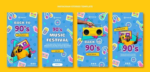 Handgetekende instagramverhalen van muziekfestivals uit de jaren 90