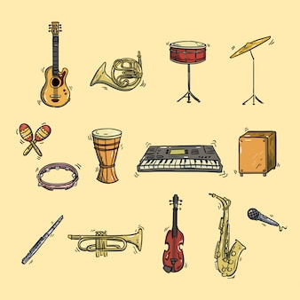 Handgetekende instrument icon illustratie set
