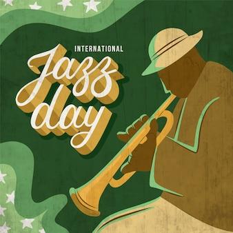 Handgetekende internationa jazz day concept