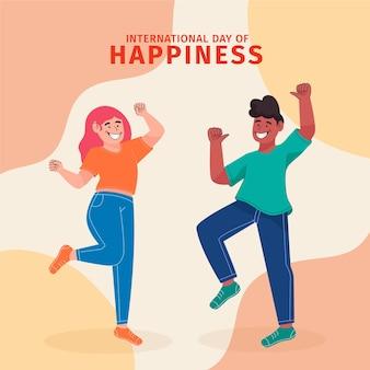 Handgetekende internationale dag van geluk illustratie