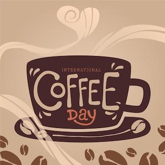 Handgetekende internationale dag van koffie concept