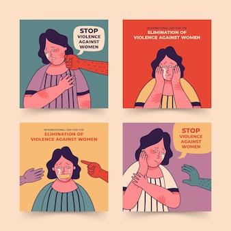 Handgetekende internationale dag voor de uitbanning van geweld tegen vrouwen instagram posts collectie
