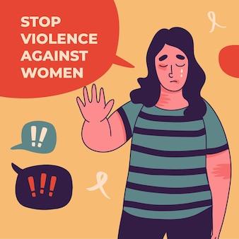 Handgetekende internationale dag voor de uitbanning van geweld tegen vrouwenillustratie