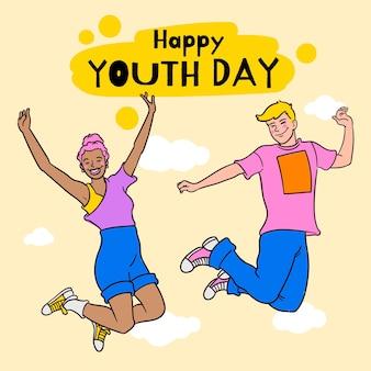 Handgetekende internationale jeugddagillustratie