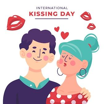 Handgetekende internationale kussende dag illustratie met vrouw en man
