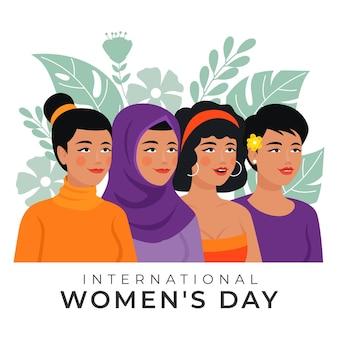 Handgetekende internationale vrouwendag illustratie met vrouwen en bladeren