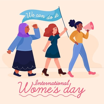 Handgetekende internationale vrouwendag illustratie met vrouwen met vlag en megafoon