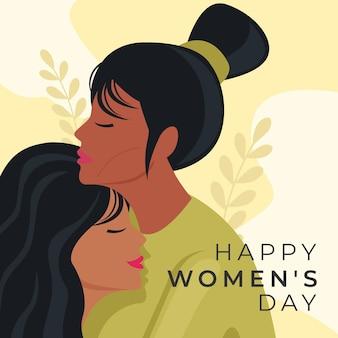 Handgetekende internationale vrouwendag illustratie met vrouwen