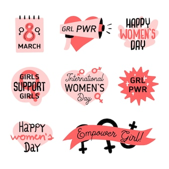 Handgetekende internationale vrouwendag labelpakket