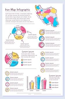 Handgetekende iran kaart infographic sjabloon