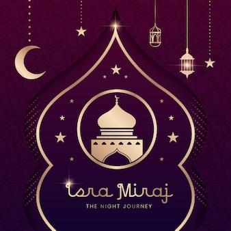 Handgetekende isra miraj illustratie met lantaarns en maan
